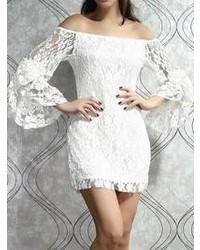 Choies White Off Shoulder Lace Bodycon Dress With Flare Sleeve