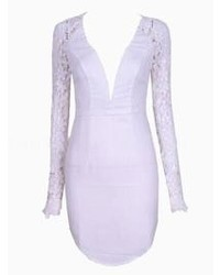 Choies White Try To Please Me Bodycon Dress In White