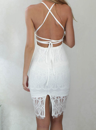 Halter Backless Sheer Lace Hem Bodycon Dress | Where to buy & how to ...