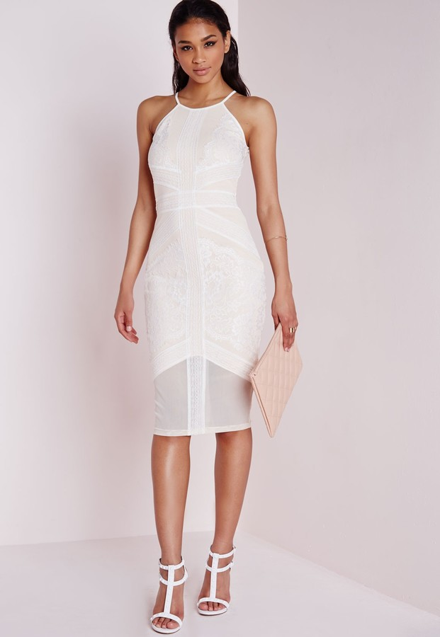 c6faa668f6ca ... White Lace Bodycon Dresses Missguided Lace Mesh Panel Halter Midi Dress  Whitenude ...