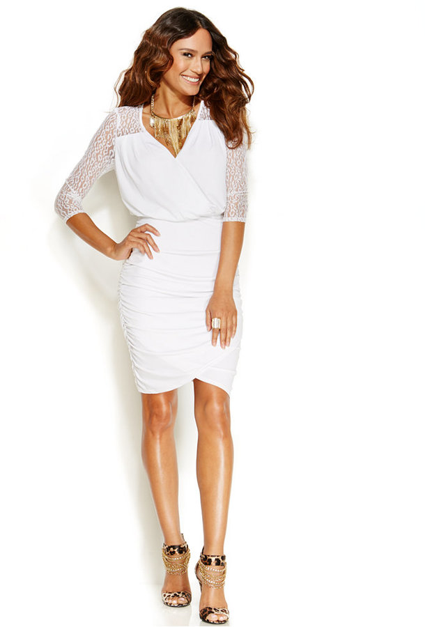 Thalia Sodi Lace Sleeve Faux Wrap Dress | Where to buy & how to wear