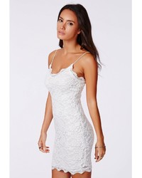 Missguided Ciara Lace Strappy Mini Dress White | Where to buy ...