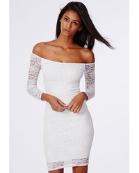 Missguided Gracie Lace Bardot Bodycon Dress White