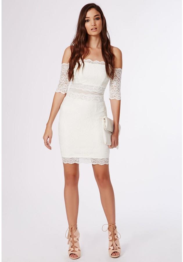 a373f1eaaff Missguided Kate Lace Bardot Midi Dress White