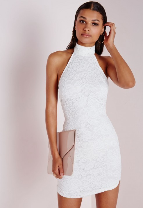 1be6316944e5 ... Missguided Lace High Neck Curve Hem Bodycon Dress White ...
