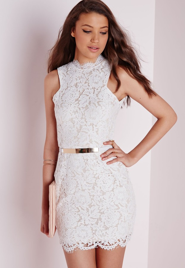 73180eb0abe ... Missguided Lace High Neck Scallop Hem Mini Dress White ...