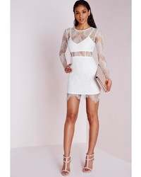 Missguided Lace Long Sleeve Bodycon Dress White | Where to buy ...