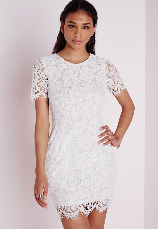 31c85071590 ... White Lace Bodycon Dresses Missguided Lace Short Sleeve Bodycon Dress  Nude ...