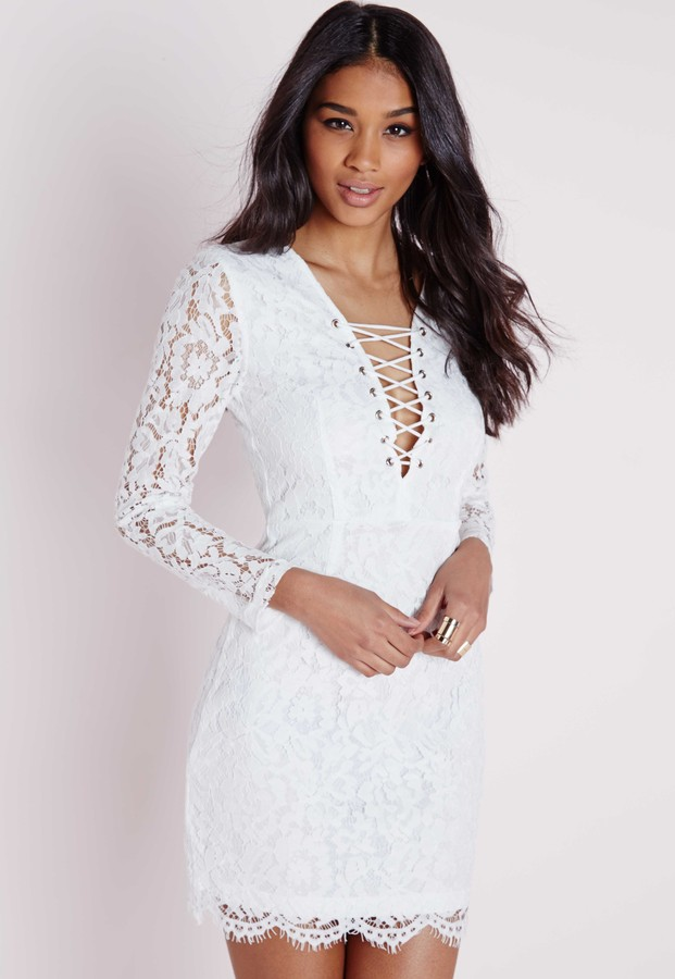 fbbd6c219193 ... Missguided Lace Tie Up Front Mini Dress White ...