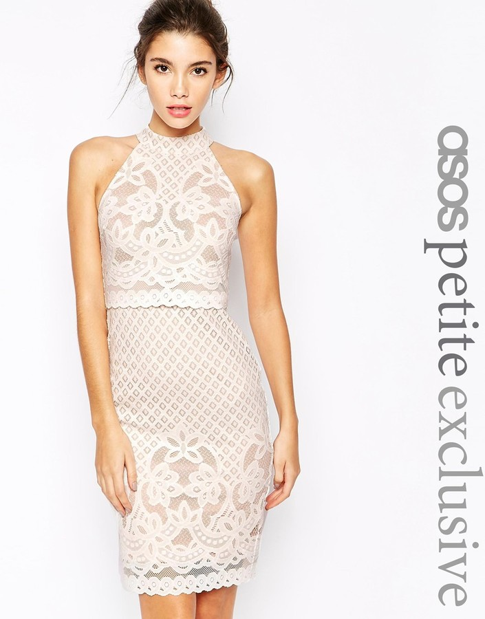 dfbc4d57ea89 ... White Lace Bodycon Dresses Asos Petite Body Conscious Dress In Lace  With High Neck ...