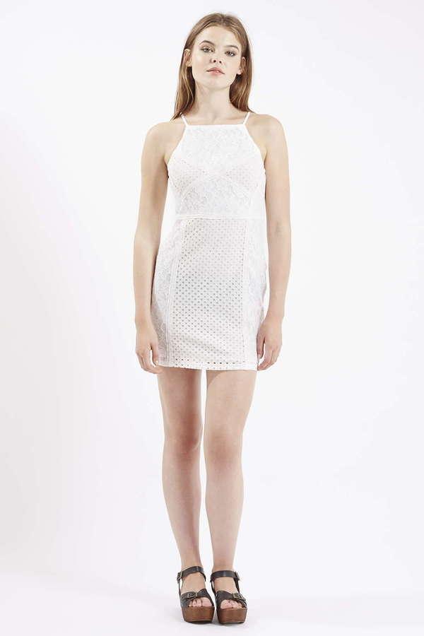 4704fbdd8633 Topshop Petite Strappy Lace Bodycon Dress, $75 | Topshop | Lookastic.com