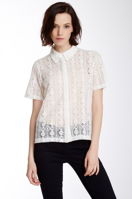 Dantelle Sheer Lace Front Button Shirt | Where to buy & how to wear