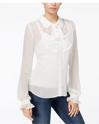 Fair Child Sheer Lace Contrast Bow Blouse