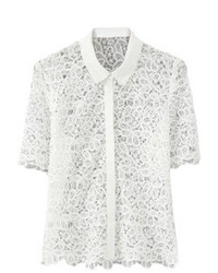 Romwe Lace Crochet Hollow White Shirt
