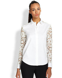 DKNY Lace Detail Button Front Shirt