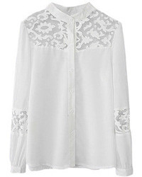 Romwe Lace Embroidered Hollow Sheer White Shirt
