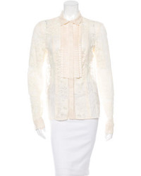 Just Cavalli Lace Ruffle Trimmed Blouse