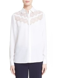 Nordstrom Signature And Caroline Issa Lace Panel Silk Blouse