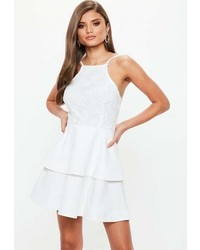 Missguided White 90s Neck Lace Frill Skater Dress
