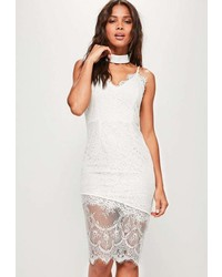 Missguided White Lace Cami Midi Dress
