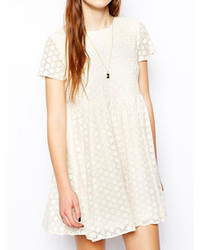 White Lace Casual Dress