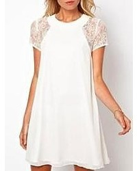 Choies white chiffon dress with lace sleeves medium 49130