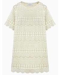 White crochet lace dress with short sleeve medium 49129