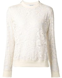White Lace Crew-neck Sweater
