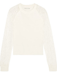 Alice + Olivia Alice Olivia Gretta Corded Lace Paneled Cotton Sweater White