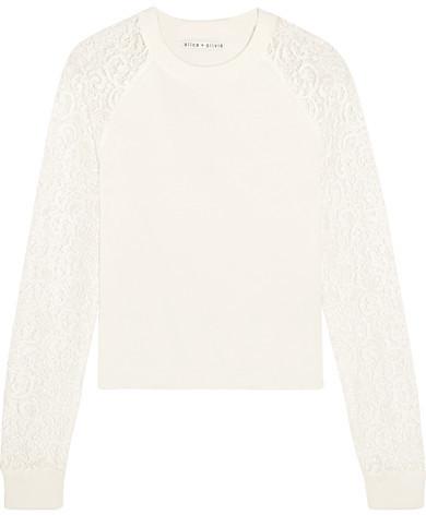 Alice + Olivia Alice Olivia Gretta Corded Lace Paneled Cotton Sweater White