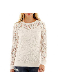 jcpenney Ana Ana Long Sleeve Lace Sweatshirt Tall
