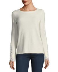 Neiman Marcus Cashmere Collection Lace Cuff Cashmere Crewneck Sweater