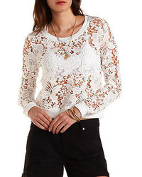 Charlotte Russe Floral Lace Sweatshirt