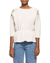 Chloé Chloe Lace Trim Wool Cashmere Cinch Waist Sweater White