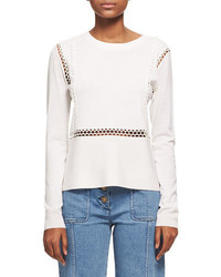 Chloé Chloe Wool Silk Sweater With Scalloped Lace Trim White