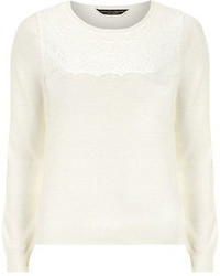 Dorothy Perkins Ivory Lace Yoke Sweater