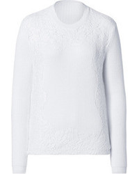 Valentino Wool Ribbed Pullover With Lace Applique
