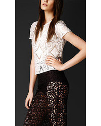 Burberry Hand Embroidered Lace T Shirt
