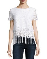 Design History Layered Fringe Trim Cropped Lace Tee White