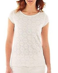 Liz Claiborne Short Sleeve Lace Front Tee