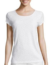 Liz Claiborne Short Sleeve Lace T Shirt