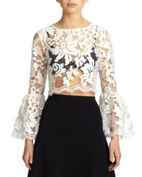 Vito sheer lace bell sleeved cropped top medium 229029