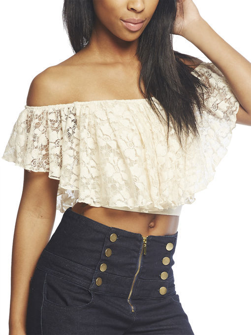 a8a3ed12764732 ... Arden B Lace Peasant Crop Top ...