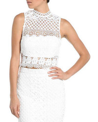 Bardot Calista Lace Trimmed Cropped Top