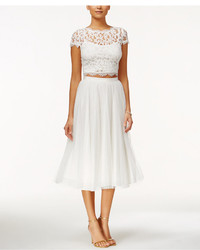 Adrianna Papell Cap Sleeve Lace Crop Top