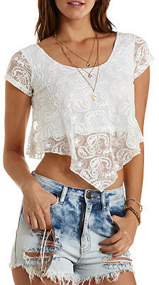 1c7f17272e0eac ... White Lace Cropped Tops Charlotte Russe Cap Sleeve Lace Swing Crop Top  ...