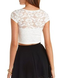 8fa61eb8f54 Charlotte Russe Short Sleeve Embroidered Lace Crop Top, $16 ...