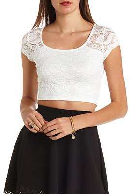 1274e120af78ca Charlotte Russe Short Sleeve Embroidered Lace Crop Top, $16 ...