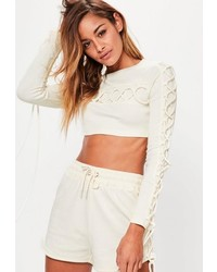 Missguided Cream Lace Up Detail Crop Top