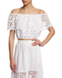 Miguelina Dakota Off The Shoulder Lace Crop Top
